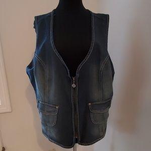 Harley Davidson Tie Back Crystal Embellished Vest